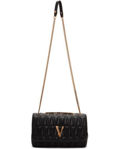 Черная кожаная косметичка с подкладкой Versace