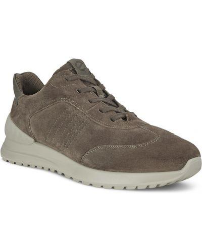 Коричневые кожаные кроссовки на шнурках Ecco