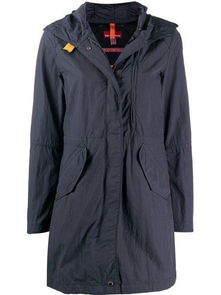 С рукавами серое пальто с капюшоном на молнии с карманами Parajumpers