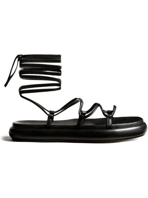 Czarne sandały peep toe Khaite