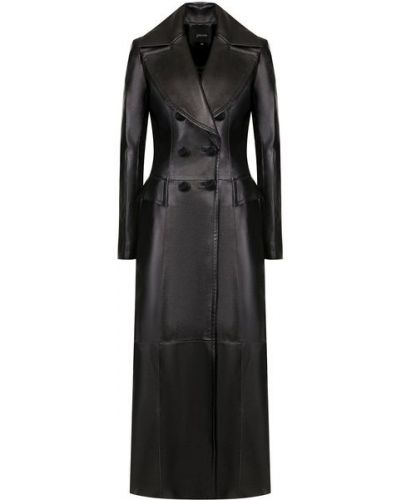 Приталенное кожаное пальто двубортное Jitrois