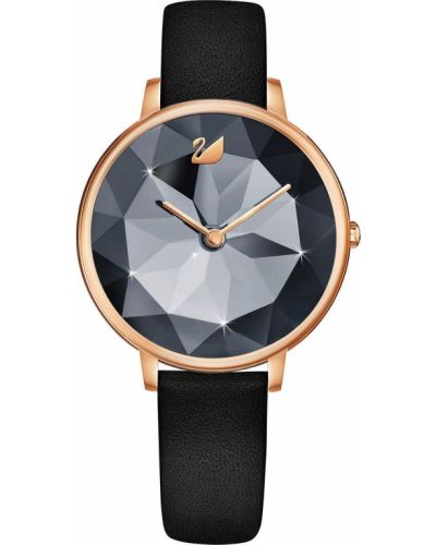 Часы на кожаном ремешке водонепроницаемые кварцевые Swarovski