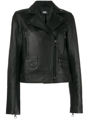 Черная кожаная короткая куртка байкерская Karl Lagerfeld