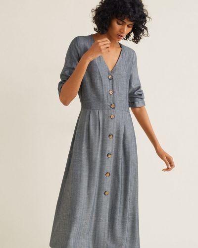 Платье миди с V-образным вырезом на пуговицах Mango