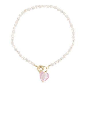 Złoty naszyjnik z pereł - różowy Petit Moments