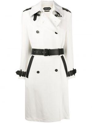 Белое пальто классическое с воротником двубортное из вискозы Tom Ford