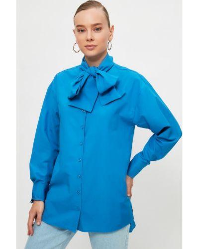 Niebieska tunika bawełniana z paskiem Trendyol