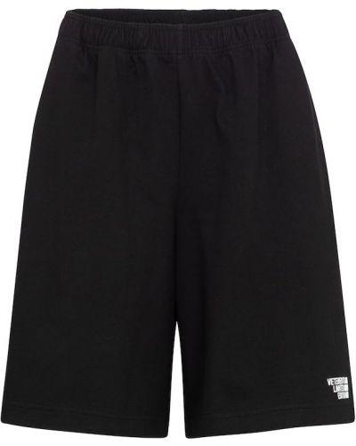 Ватные хлопковые черные шорты Vetements