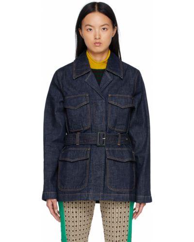 Синяя длинная куртка Wales Bonner
