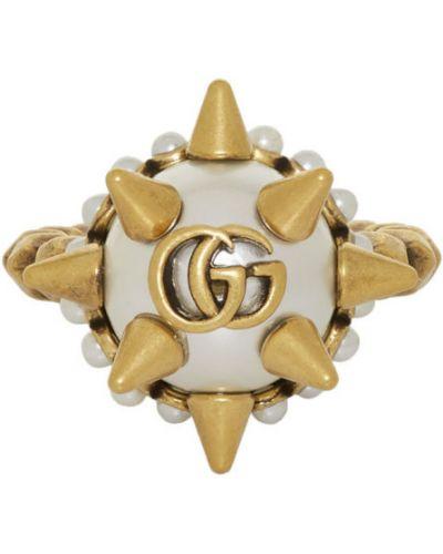Pierścień z perłami ze złota Gucci