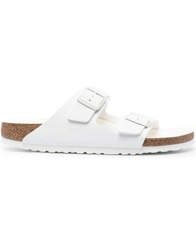 Białe sandały skorzane klamry Birkenstock