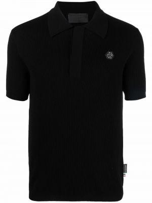 Czarna koszula krótki rękaw wełniana Philipp Plein