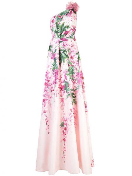Платье на одно плечо с цветочным принтом Marchesa Notte