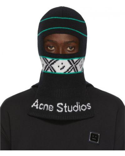 Шерстяной черный шарф с нашивками Acne Studios