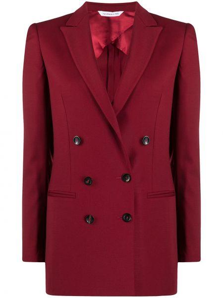 Шерстяной красный удлиненный пиджак двубортный Tonello