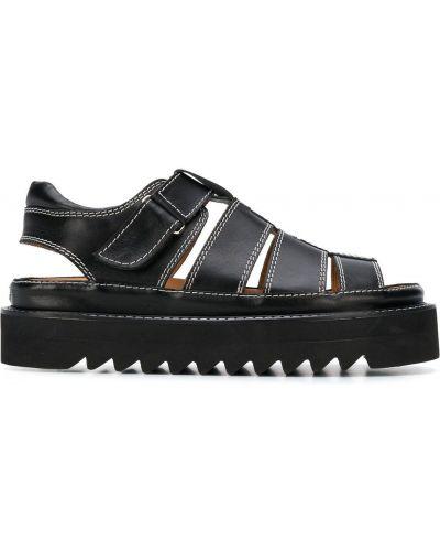 Czarne sandały skorzane peep toe Ami