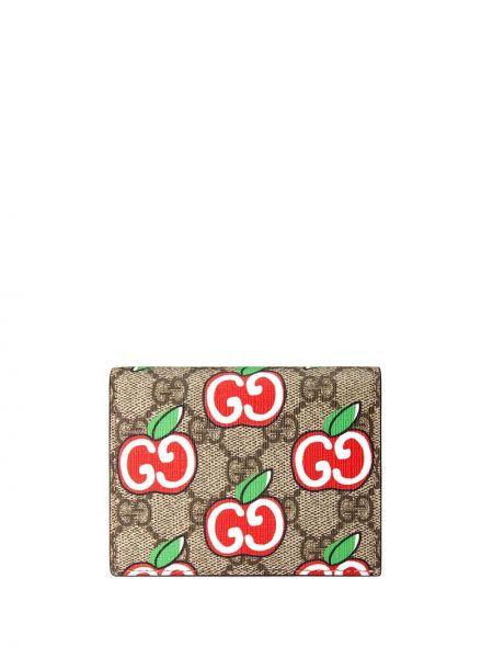 Brązowy portfel z gniazdem z prawdziwej skóry Gucci