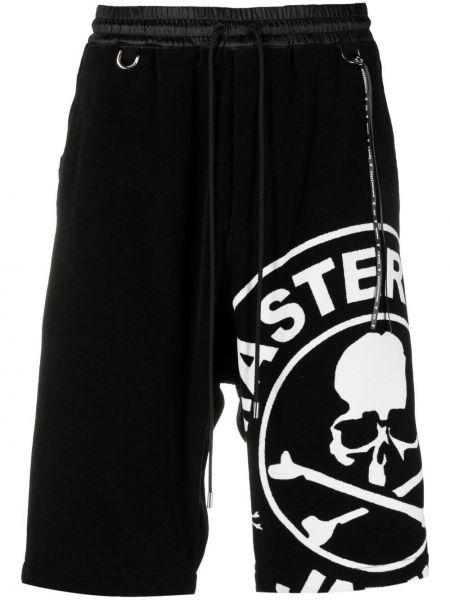 Czarne szorty z printem bawełniane Mastermind World