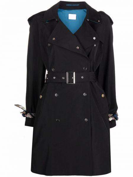 Czarny długi płaszcz bawełniany z długimi rękawami Merci