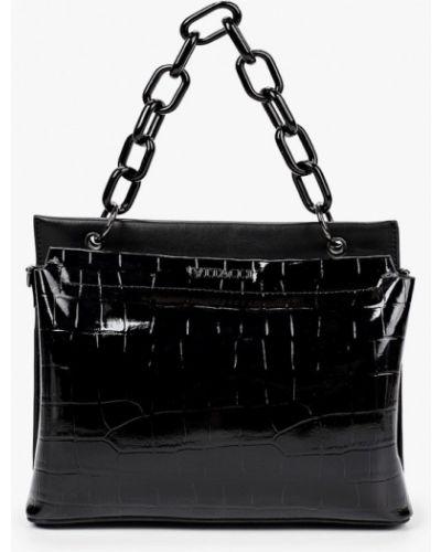 Кожаная лаковая черная кожаная сумка Vitacci