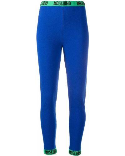 Синие шерстяные леггинсы Moschino