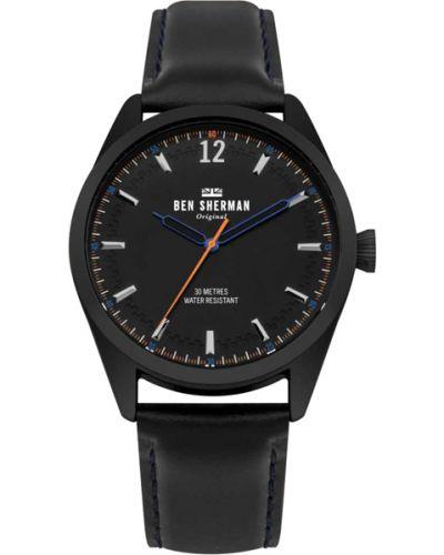 Часы водонепроницаемые с кожаным ремешком черный Ben Sherman