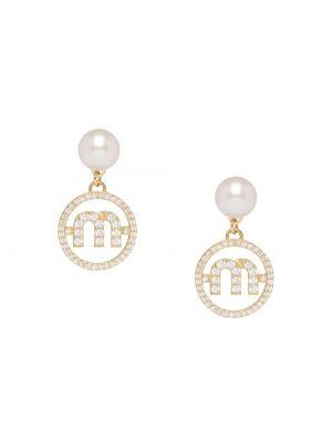 Szare złote kolczyki sztyfty perły Miu Miu