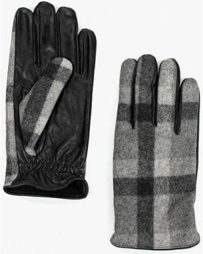 Серые кожаные перчатки Mango Man