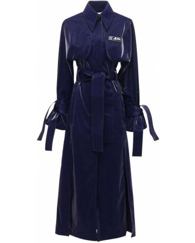 Синее пальто с воротником с карманами Off-white