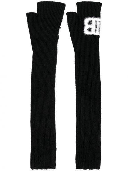 Prążkowane czarne rękawiczki bez palców wełniane Balmain
