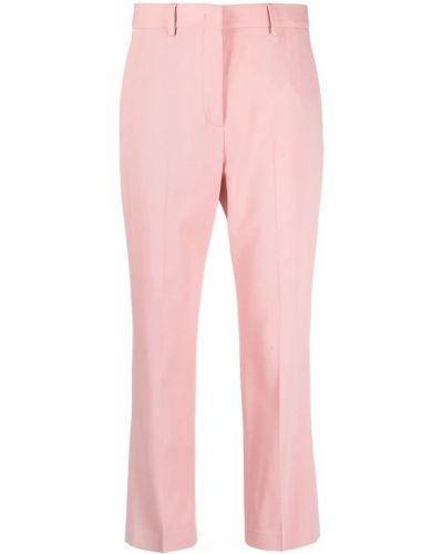 Шерстяные розовые укороченные брюки с потайной застежкой Paul Smith