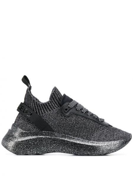 Koronkowa czarny skórzane sneakersy na sznurowadłach na pięcie Dsquared2