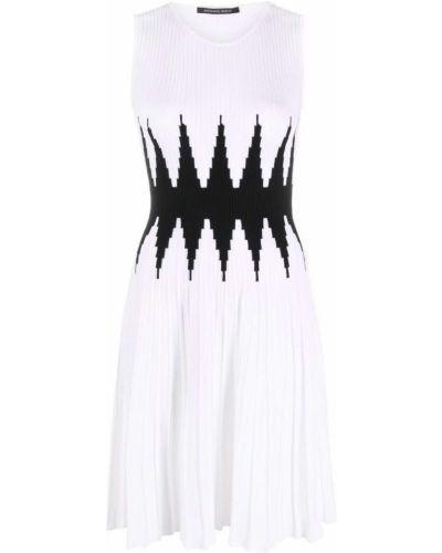 Prążkowana biała sukienka w kształcie litery A z wiskozy Antonino Valenti