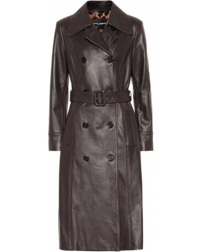 Кожаное коричневое кожаное пальто Dolce & Gabbana