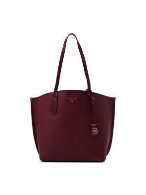 Кожаная сумка шоппер - бордовая Michael Michael Kors