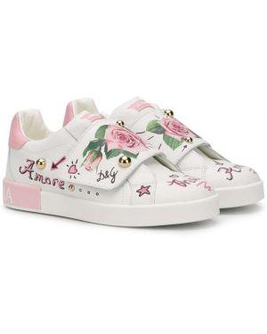 Кожаные белые кроссовки Dolce & Gabbana Kids
