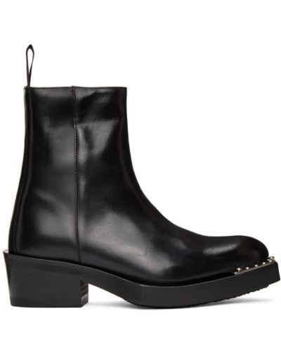 Skórzany czarny buty na wysokości na pięcie prążkowany Eytys