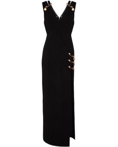 Золотистое шелковое черное платье миди Versace