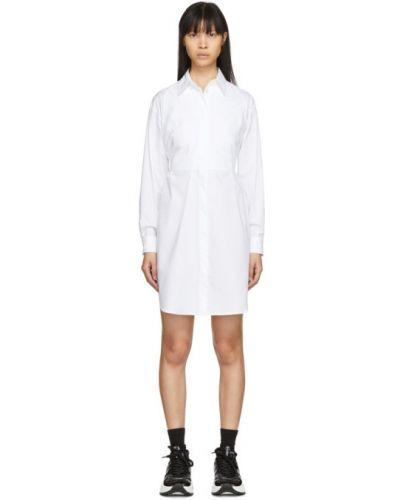 Белое платье макси с длинными рукавами с воротником на бретелях Mm6 Maison Margiela