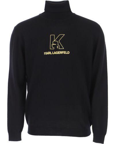 Złoty czarny długi sweter z długimi rękawami Karl Lagerfeld