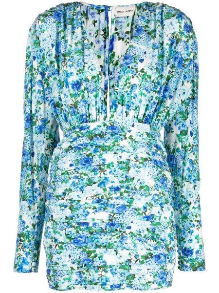 Шелковое синее платье мини с длинными рукавами Magda Butrym