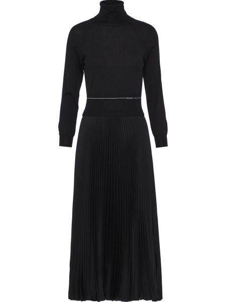 С рукавами шелковое черное платье миди с воротником Prada