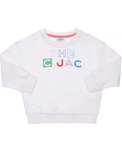 Белый хлопковый свитшот со стразами Little Marc Jacobs