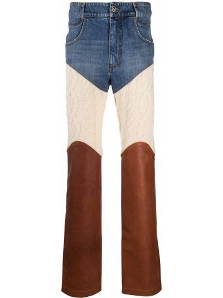 Синие кашемировые прямые джинсы с карманами с заплатками Telfar