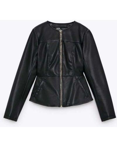 Кожаный пиджак - черный Zara