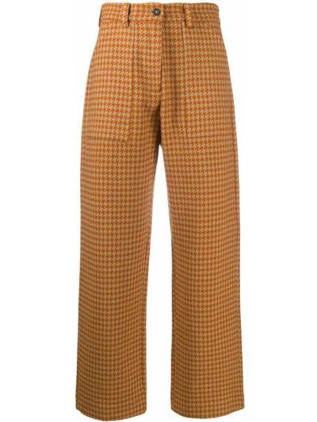 Шерстяные укороченные брюки с накладными карманами с заплатками свободного кроя Massimo Alba