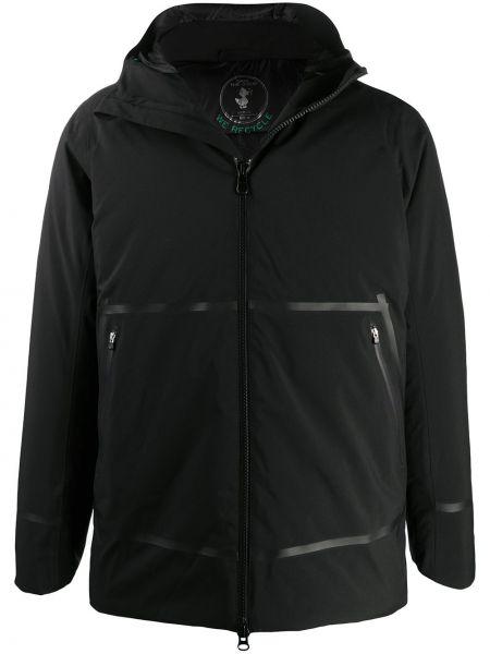 С рукавами черная длинная куртка с капюшоном Save The Duck
