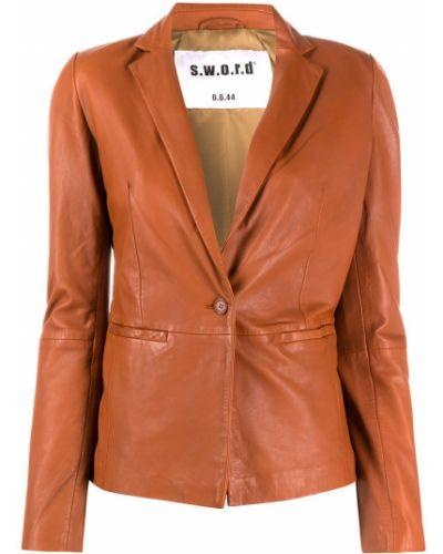 Коричневый кожаный удлиненный пиджак на пуговицах S.w.o.r.d 6.6.44