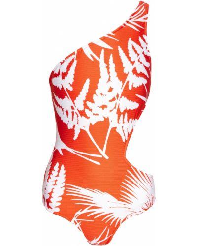 Красный слитный купальник на одно плечо Salinas