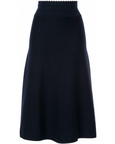 Синяя юбка миди в рубчик Molli
